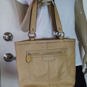 Coach Penelope Tan Pebble Leather Tote Bag Purse